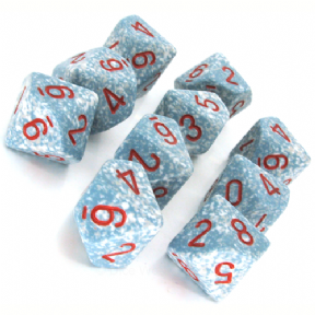 Blue & White 'Air' Speckled D10 Ten Sided Dice Set